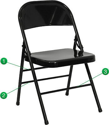 100 Pack Metal Folding Chair Black Color Triple Braced And Double Hinged