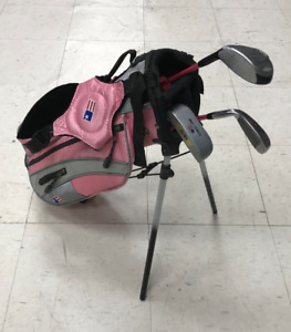 Used USA Kids Golf Club Girls 3 Piece Set With Pink Standing Bag