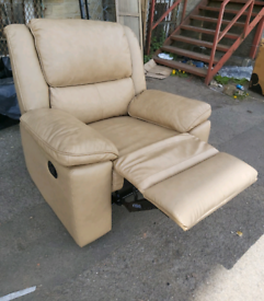 Chair - Quality Extra Comfy Soft Cream Leather Manual Recliner Chair