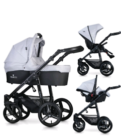 Venicci 3 in 1 travel system in Dove Grey. Pram, carrycot & car seat