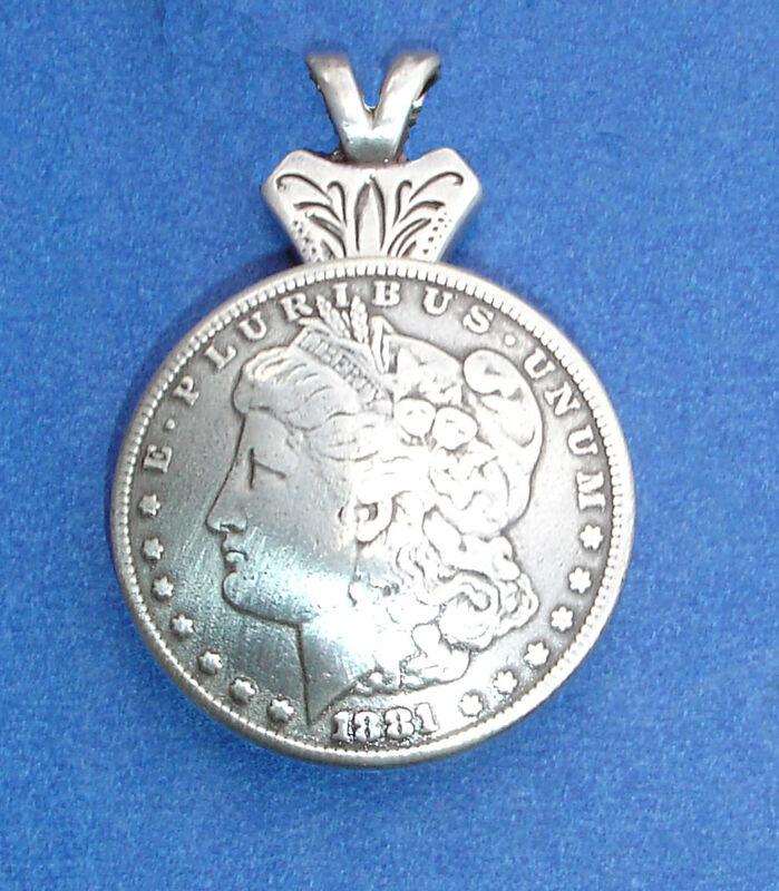 Western Jewelry Antique Morgan Silver Dollar Repro. Concho Pendant Kit