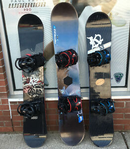 Used Snowboards w/ Flow bindings 155-164 snowboard boots