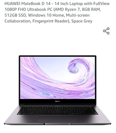 Huawei MateBook D 14, SSD, Ryzen 7