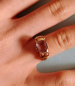 1920 vintage 10K amethyst yellow gold ring size 3.5