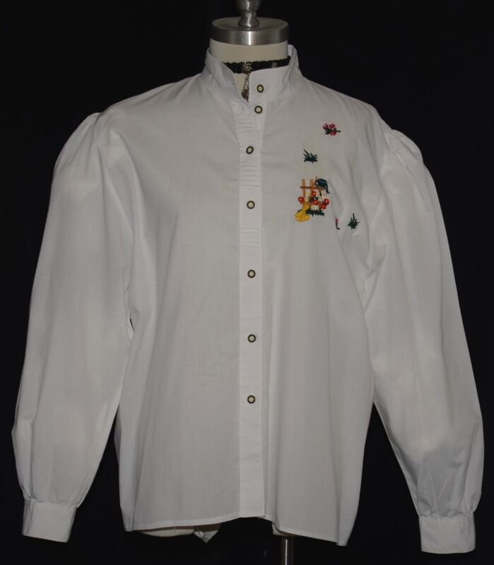 "WHITE COTTON BLOUSE Shirt EMBROIDERY German Women LONG SLEEVES Dirndl B48"" 20 XL"
