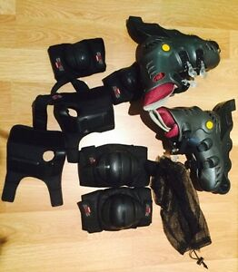 ROLLER BLADES WITH KNEE, ELBOW AND HAND PROTECTION