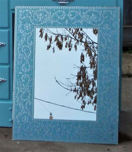 "BLUE SILVER GLASS MOSAIC MIRROR - BRAND NEW IN BOX - 22"" X 28"""