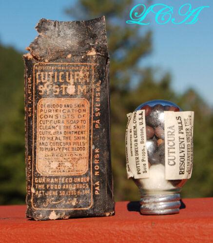 EXCELLENT antique CUTICURA Resolvent Pills - tiny OVAL FLASK all - ORIGINAL