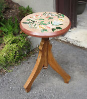 Hand Painted Wood STOOL - Decorative FLOWER