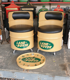 Oil drum seats benches & clocks man cave gamesroom furniture