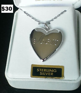 "New Sterling silver Heart necklace ""mom"""