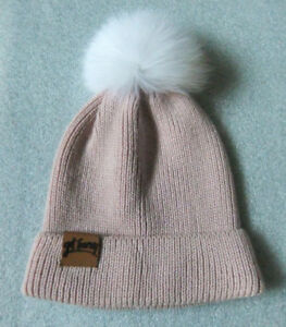 get Furry Beanie Women's Hat, Champagne Pink, White Floof