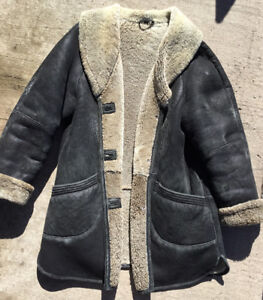 Shearling Leather Coat Size XL