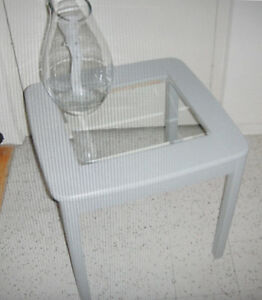 Gray Painted Wood & Beveled Glass Inserted Coffee / End Table