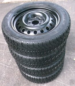 215 55 17 - GOODYEAR - SNOW TIRES on RIMS - 5 BOLT -CAMRY ACCORD