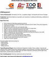 Welder/Fabricator Equipment Mechanic