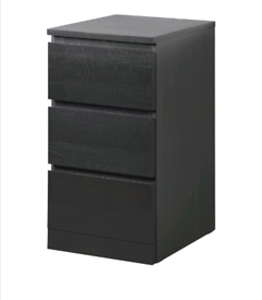IKEA malm chest of 3 drawers black