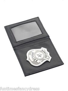 Special Police Cop Officer Badge In Black Wallet FBI Agent Fancy Dress Prop