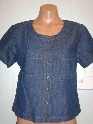 Koret City Blues Short Sleeve Blouse Top Shirt Blue Denim Button Small 4-6