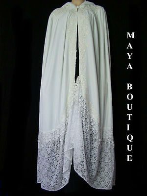 White Cloak Opera Cape Victorian Rep Long Velvet & Lace Lined Maya Matazaro