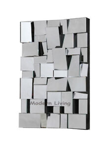 Rectangular modern art deco pave multi facet bevelled wall for Mirror 120 x 60