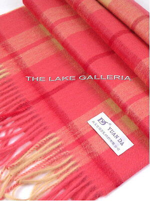 Red/yellow Scottish Plaid Check Lamb Wool Scarf Muffler Unisex Cashmere Feel
