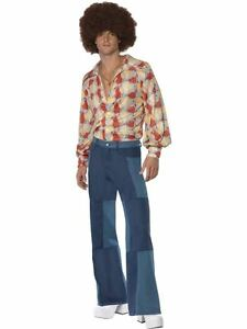 Mens-Denim-Look-Patchwork-Flared-Trousers-70s-Hippy-Fancy-Dress-ALL-SIZES