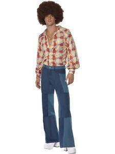 Mens-Denim-Look-Patchwork-Flared-Trousers-70s-Hippy-Flares-Fancy-Dress-M-L