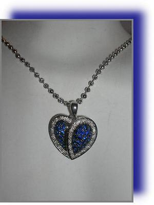 Vintage Estate 18k White Gold BLUE SAPPHIRE DIAMOND HEART Pendant 14k BEAD CHAIN