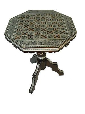 Egyptian Mother of Pearl Mosaic Wood Chess Board Table on Rummage