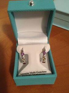 semi precious multi stone loop earrings