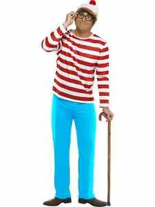 Where's Wally Costume Size Large New Top Trousers Hat Glasses Wheres Wally