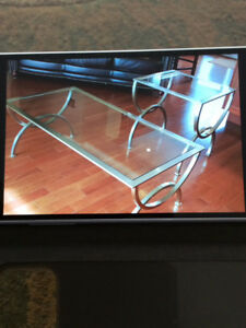 Beautiful Glass Coffee Table and Matching End Table for sale.