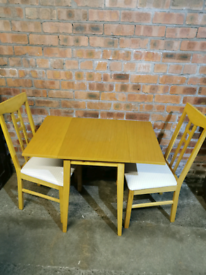 Beech drop leaf table and 2 chairs