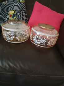 Vintage amber glass light pendants