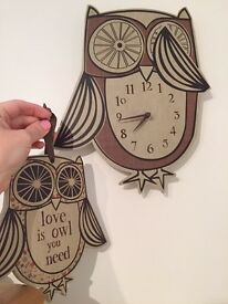 Next owl clock and plaque