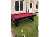Red velvet pool table