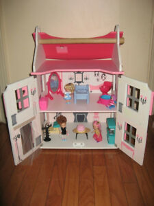 Beautiful 2 Story Mademoiselle Wooden Doll House Play Set