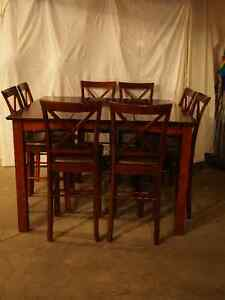 10 piece cherry wood finish pub height dining or rec. room set