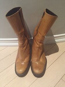 Tan leather boots made in Brazil