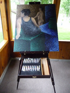 Portable Wooden Artist Standing Easel with paints