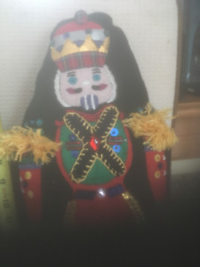 Hand appliqued Felted Nutcracker Pillows  13-15  inches tall