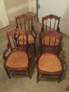 Antique chairs with caning