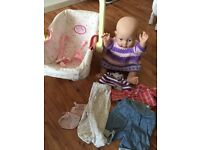 Baby annabell car seat with zapf dolly that shakes and clothes