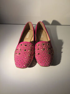 SIZE 8 Bottero Hot Pink Moccasin Style Embellished Loafers $60