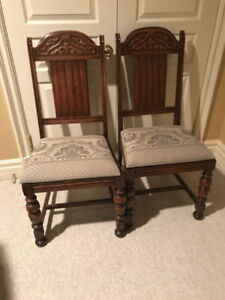 6 antique solid wood dining chairs