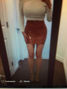 NEW PINK WET LEATHER LOOK FAUX LEATHER SKIRT SMALL