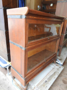 antique two glass level barrister bookcase small legs on base