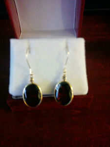 pair of yellow gold hand made bezel set drop style Garnet Earrin London Ontario image 2