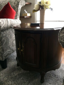 Antique cherry wood end table with storage